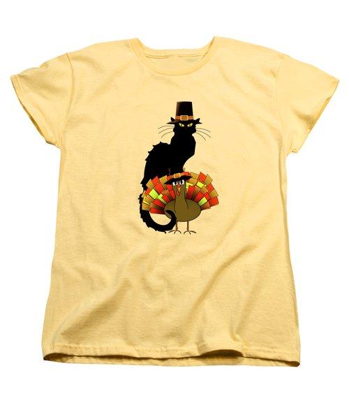 Thanksgiving Le Chat Noir With Turkey Pilgrim Women's T-Shirt (Standard Cut) by Gravityx9   Designs