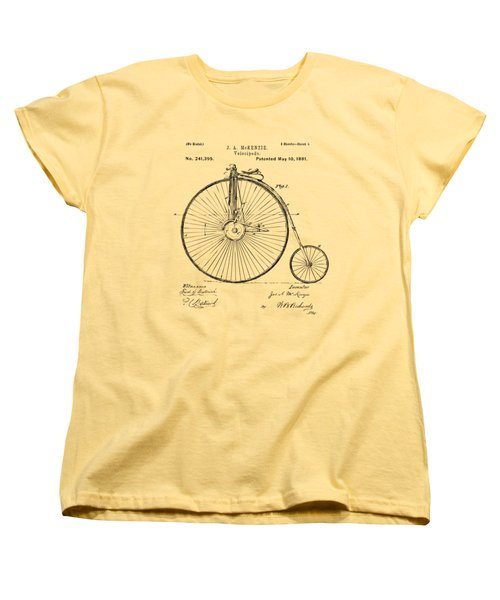 1881 Velocipede Bicycle Patent Artwork - Vintage Women's T-Shirt (Standard Cut) by Nikki Marie Smith