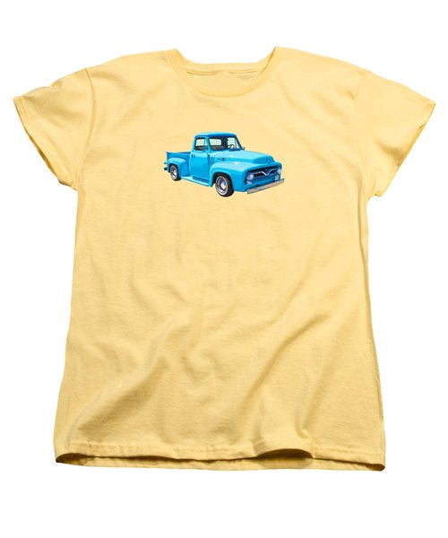 1955 Ford F100 Blue Pickup Truck Canvas Women's T-Shirt (Standard Cut) by Keith Webber Jr