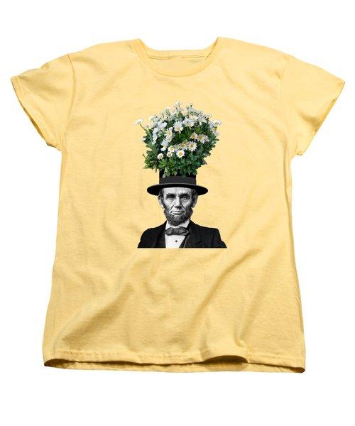 Abraham Lincoln Presidential Daisies Women's T-Shirt (Standard Cut) by Garaga Designs