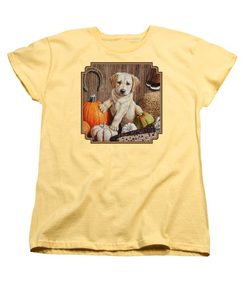 Pumpkin Puppy Women's T-Shirt (Standard Cut) by Crista Forest