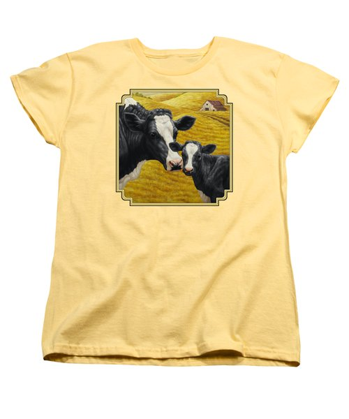 Holstein Cow And Calf Farm Women's T-Shirt (Standard Cut) by Crista Forest