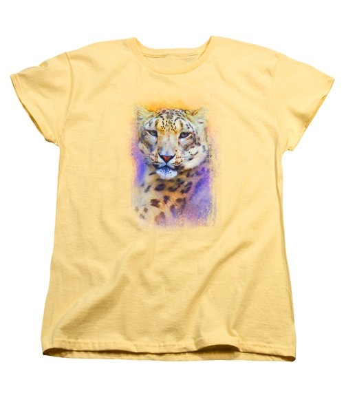 Colorful Expressions Snow Leopard Women's T-Shirt (Standard Cut) by Jai Johnson