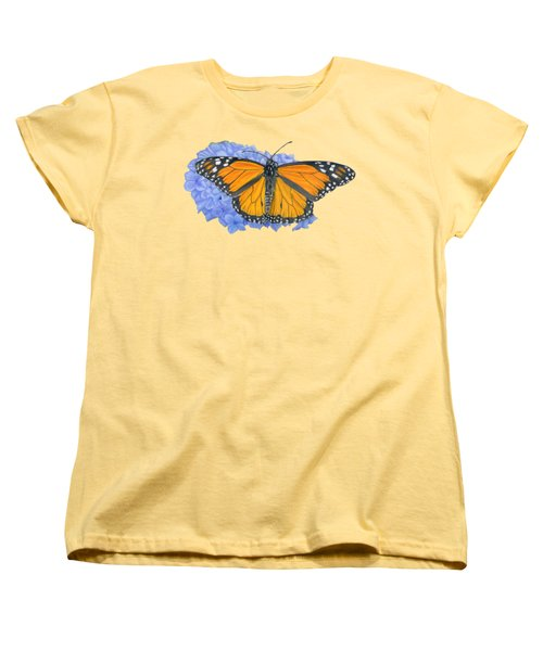 Monarch Butterfly And Hydrangea- Transparent Background Women's T-Shirt (Standard Cut) by Sarah Batalka