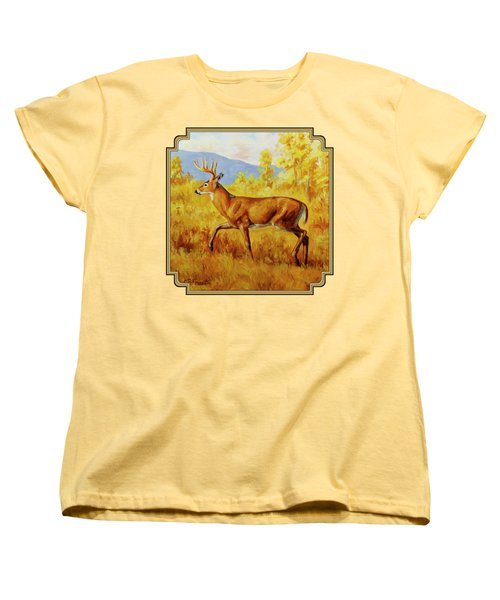Whitetail Deer In Aspen Woods Women's T-Shirt (Standard Cut) by Crista Forest
