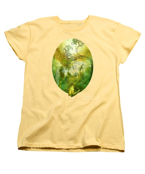 Unicorn Of The Forest  Women's T-Shirt (Standard Cut) by Carol Cavalaris