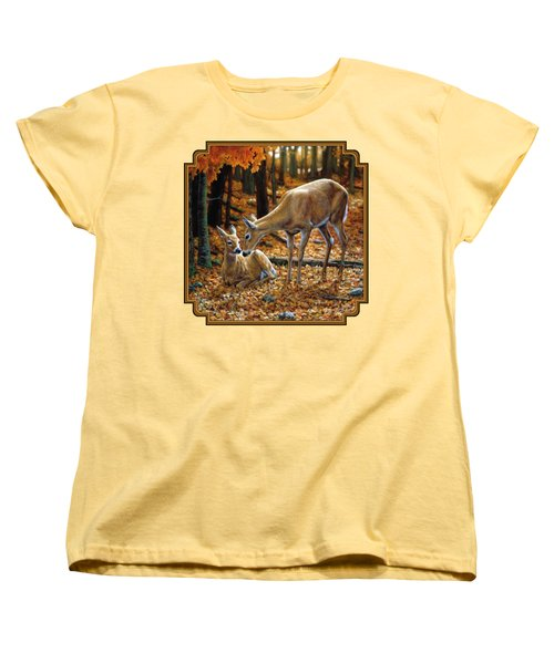 Whitetail Deer - Autumn Innocence 2 Women's T-Shirt (Standard Cut) by Crista Forest