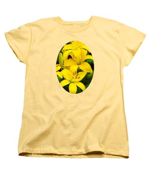 Yellow Lilies Women's T-Shirt (Standard Cut) by Christina Rollo