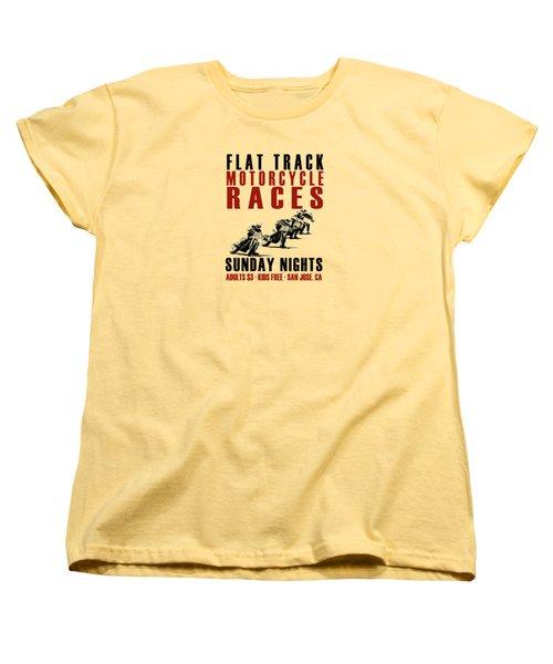 Flat Track Motorcycle Races Women's T-Shirt (Standard Cut) by Mark Rogan