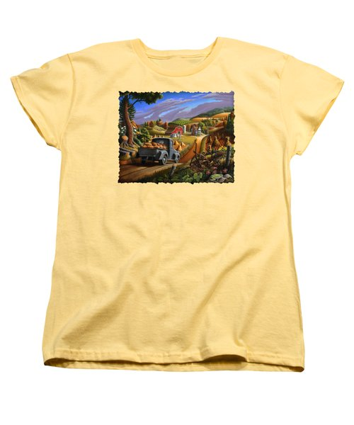Autumn Appalachia Thanksgiving Pumpkins Rural Country Farm Landscape - Folk Art - Fall Rustic Women's T-Shirt (Standard Cut) by Walt Curlee