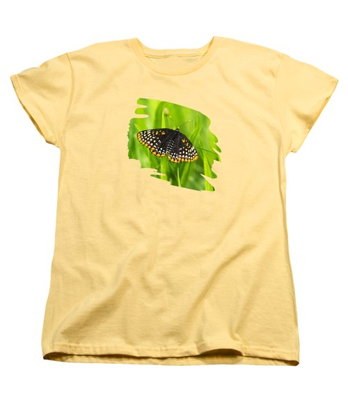 Baltimore Checkerspot Butterfly Women's T-Shirt (Standard Cut) by Christina Rollo