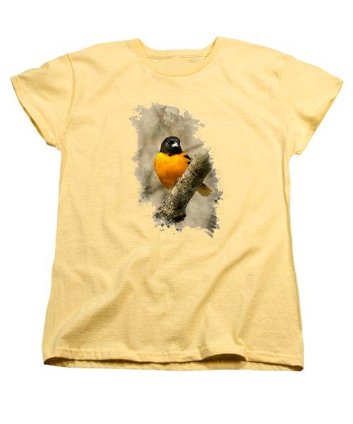 Baltimore Oriole Watercolor Art Women's T-Shirt (Standard Cut) by Christina Rollo