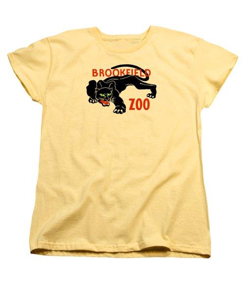 Black Panther Brookfield Zoo Ad Women's T-Shirt (Standard Cut) by Heidi De Leeuw
