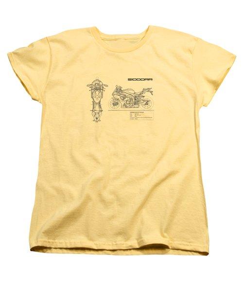 Blueprint Of A S1000rr Motorcycle Women's T-Shirt (Standard Cut) by Mark Rogan