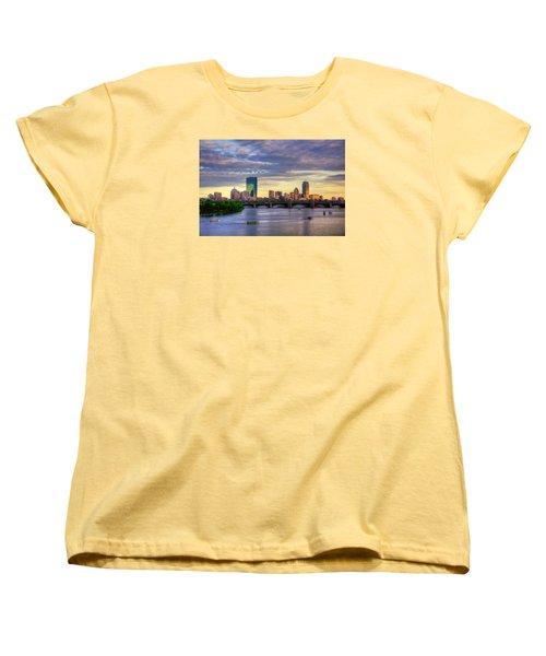 Boston Skyline Sunset Over Back Bay Women's T-Shirt (Standard Cut) by Joann Vitali