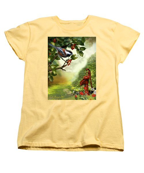 Chickadee Visiting The Water Pump Women's T-Shirt (Standard Cut) by Regina Femrite
