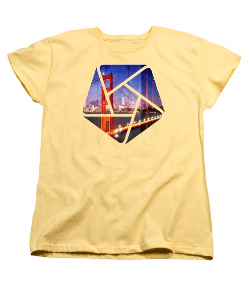 City Art Golden Gate Bridge Composing Women's T-Shirt (Standard Cut) by Melanie Viola