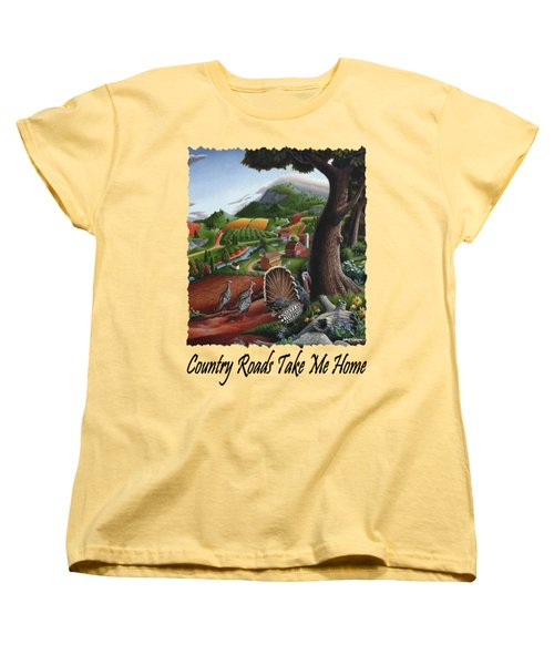 Country Roads Take Me Home - Turkeys In The Hills Country Landscape 2 Women's T-Shirt (Standard Cut) by Walt Curlee