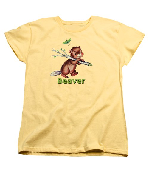 Cute Baby Beaver Pattern Women's T-Shirt (Standard Cut) by Tina Lavoie