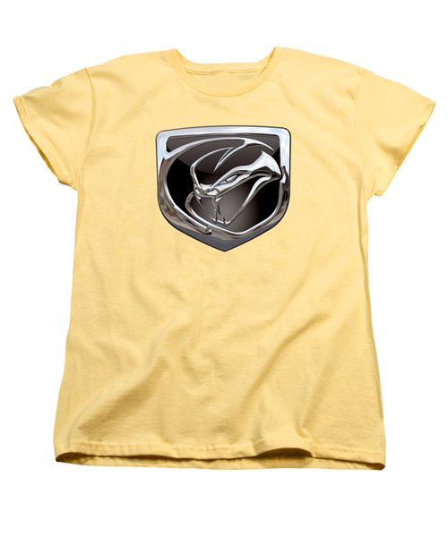Dodge Viper 3 D  Badge Special Edition On Yellow Women's T-Shirt (Standard Cut) by Serge Averbukh