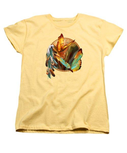 Dream Catcher - Spirit Of The Butterfly Women's T-Shirt (Standard Cut) by Carol Cavalaris