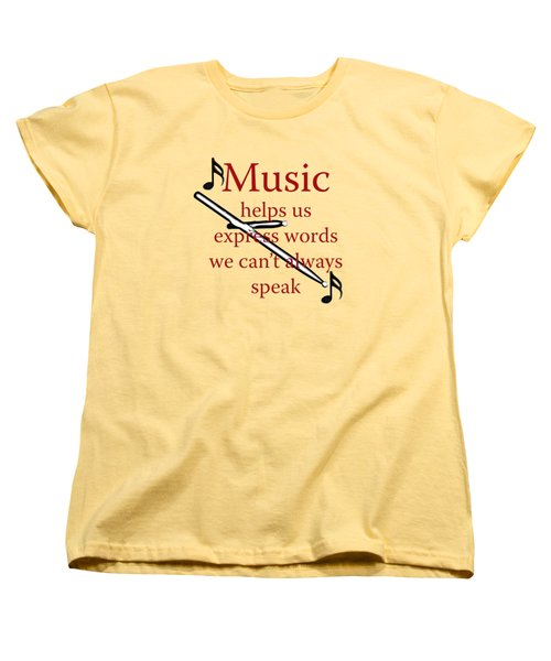 Drum Music Helps Us Express Words Women's T-Shirt (Standard Cut) by M K  Miller