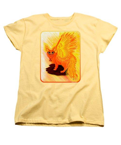 Elemental Fire Fairy Cat Women's T-Shirt (Standard Cut) by Carrie Hawks
