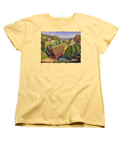 Folk Art Covered Bridge Appalachian Country Farm Summer Landscape - Appalachia - Rural Americana Women's T-Shirt (Standard Cut) by Walt Curlee