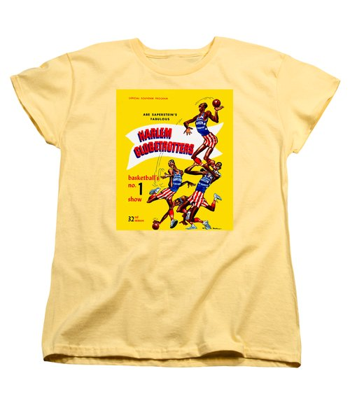 Harlem Globetrotters Vintage Program 32nd Season Women's T-Shirt (Standard Cut) by Big 88 Artworks