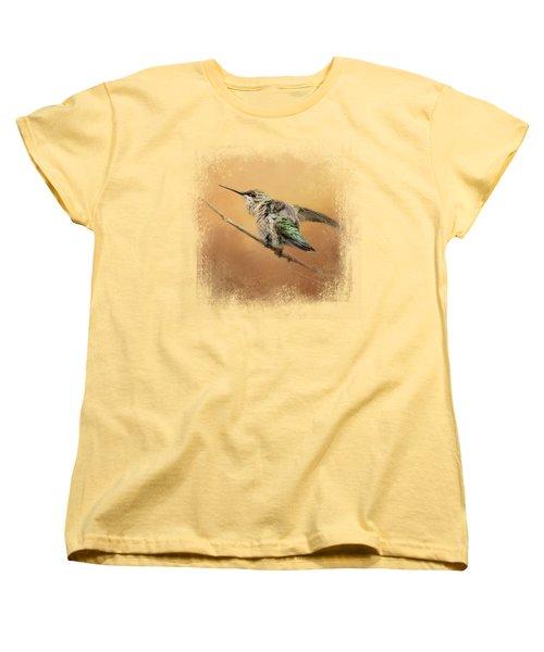 Hummingbird On Peach Women's T-Shirt (Standard Cut) by Jai Johnson