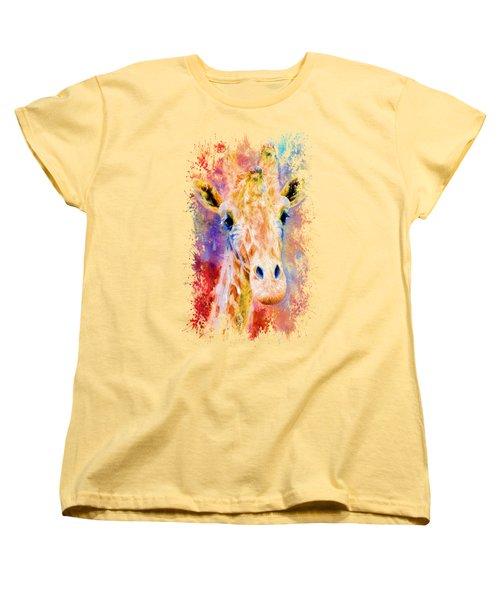 Jazzy Giraffe Colorful Animal Art By Jai Johnson Women's T-Shirt (Standard Cut) by Jai Johnson