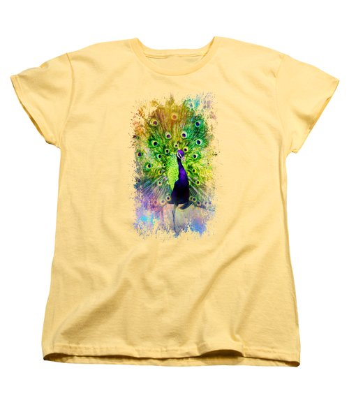 Jazzy Peacock Colorful Bird Art By Jai Johnson Women's T-Shirt (Standard Cut) by Jai Johnson
