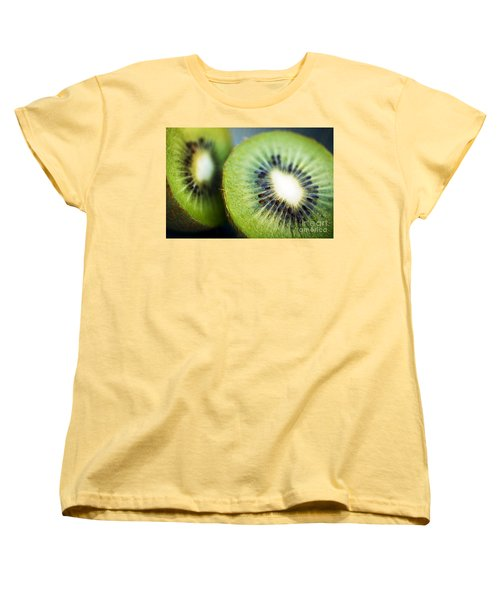 Kiwi Fruit Halves Women's T-Shirt (Standard Cut) by Ray Laskowitz - Printscapes