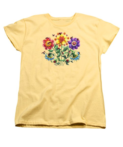 Ladybug Playground Women's T-Shirt (Standard Cut) by Shelley Wallace Ylst