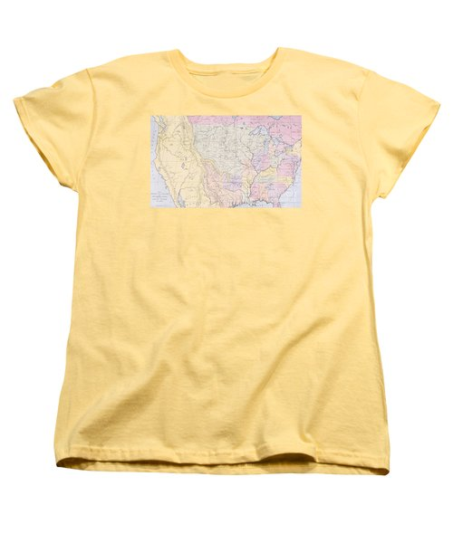 Map Showing The Localities Of The Indian Tribes Of The Us In 1833 Women's T-Shirt (Standard Cut) by Thomas L McKenney and James Hall