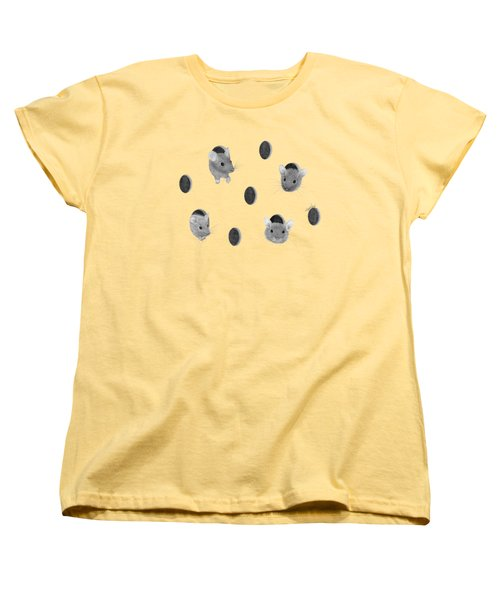 Mice In Swiss Cheese Women's T-Shirt (Standard Cut) by Rita Palmer