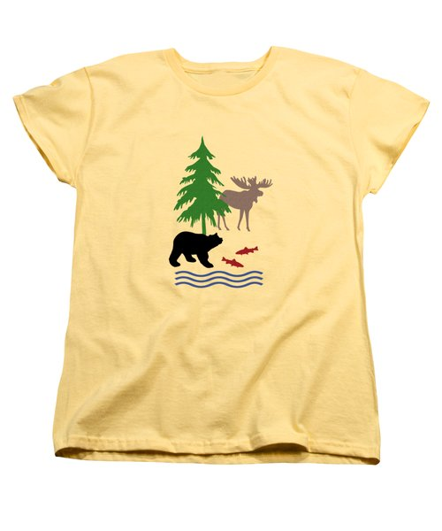 Moose And Bear Pattern Aged Women's T-Shirt (Standard Cut) by Christina Rollo