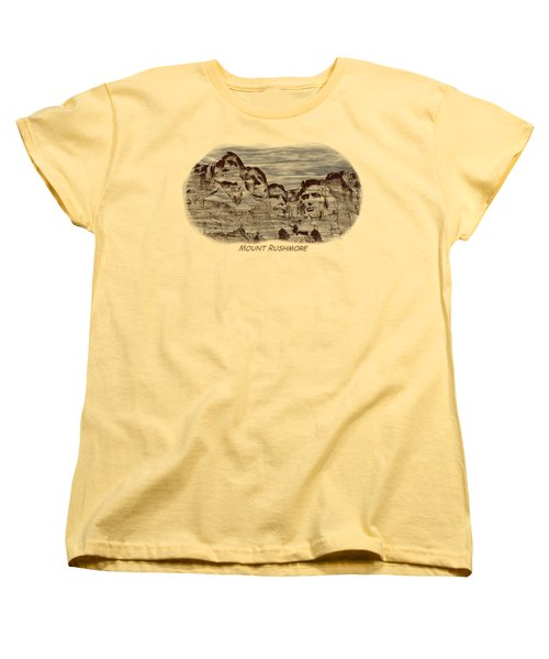 Mount Rushmore Woodburning 2 Women's T-Shirt (Standard Cut) by John M Bailey