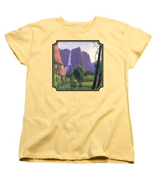 Mountains Waterfall Stream Western Landscape - Square Format Women's T-Shirt (Standard Cut) by Walt Curlee