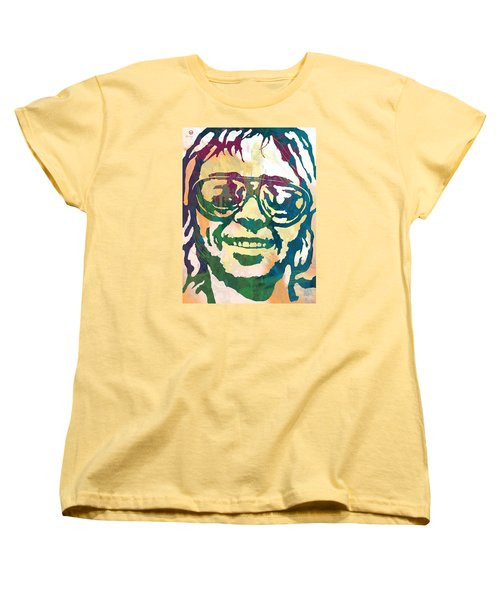 Neil Young Pop Stylised Art Poster Women's T-Shirt (Standard Cut) by Kim Wang