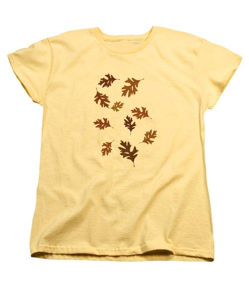 Oak Leaves Art Women's T-Shirt (Standard Cut) by Christina Rollo