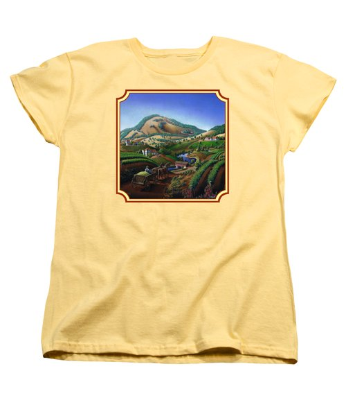Old Wine Country Landscape Painting - Worker Delivering Grape To The Winery -square Format Image Women's T-Shirt (Standard Cut) by Walt Curlee