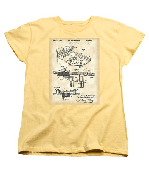 Pinball Machine Patent 1939 - Vintage Women's T-Shirt (Standard Cut) by Stephen Younts