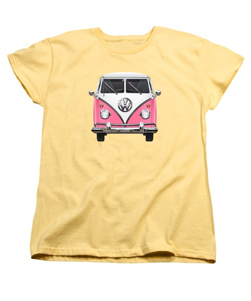 Pink And White Volkswagen T 1 Samba Bus On Yellow Women's T-Shirt (Standard Cut) by Serge Averbukh