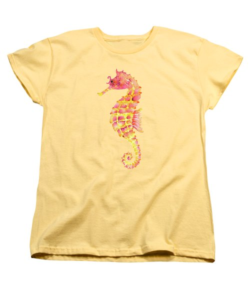 Pink Yellow Seahorse - Square Women's T-Shirt (Standard Cut) by Amy Kirkpatrick