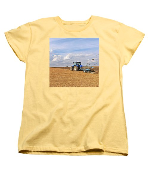 Ploughing After The Harvest - Square Women's T-Shirt (Standard Cut) by Gill Billington