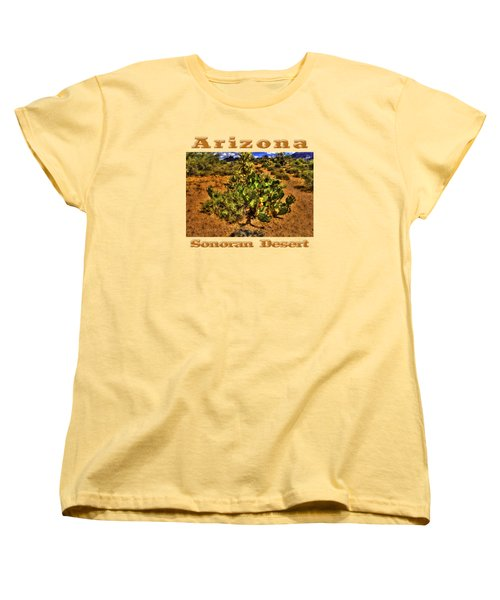 Prickly Pear In Bloom With Brittlebush And Cholla For Company Women's T-Shirt (Standard Cut) by Roger Passman