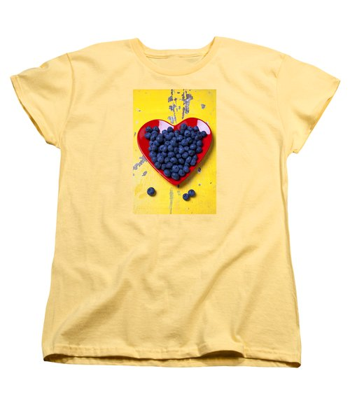 Red Heart Plate With Blueberries Women's T-Shirt (Standard Cut) by Garry Gay