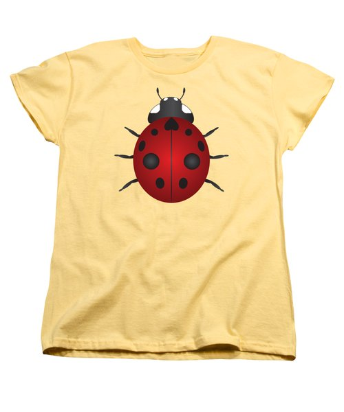 Red Ladybug Color Illustration Women's T-Shirt (Standard Cut) by Jit Lim