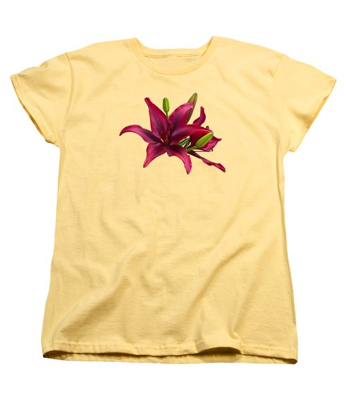 Red Lilies Women's T-Shirt (Standard Cut) by Jane McIlroy